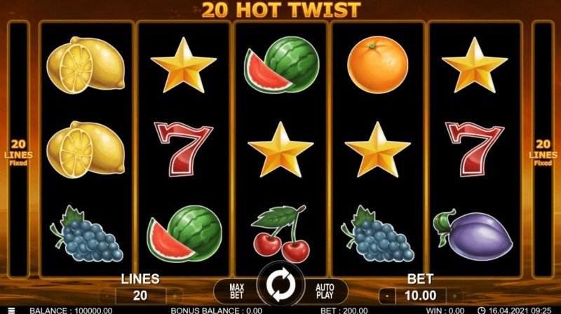 20 Hot Twist :: Main Game Board