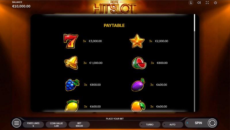 2021 Hit Slot :: Paytable - High Value Symbols
