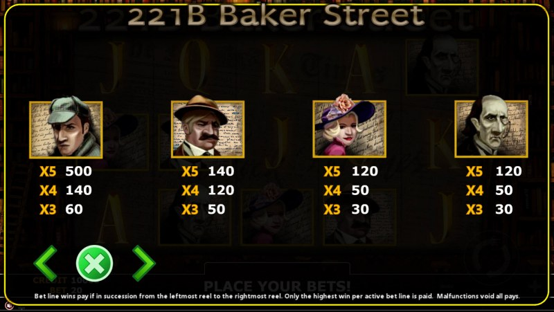 221B Baker Street :: Paytable - High Value Symbols