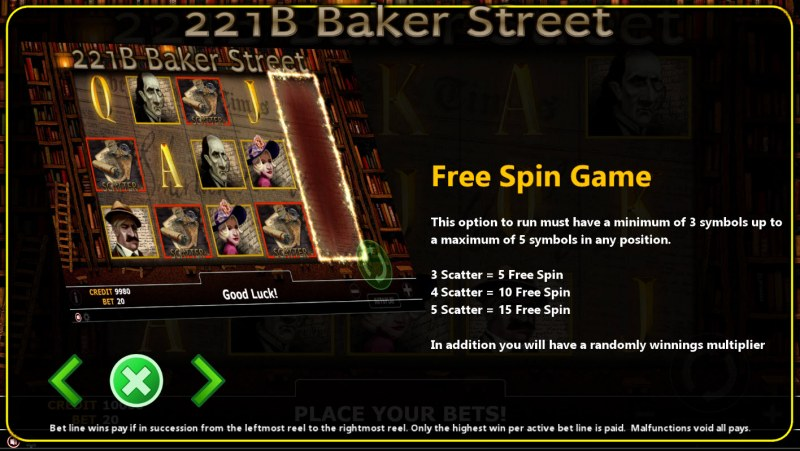 221B Baker Street :: Free Spins Rules