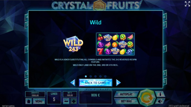 243 Crystal Fruits Reversed :: Wild Symbol Rules