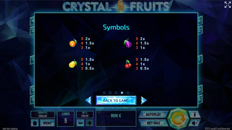 243 Crystal Fruits Reversed :: Paytable - Low Value Symbols