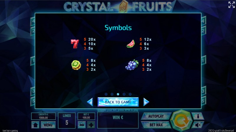 243 Crystal Fruits Reversed :: Paytable - High Value Symbols