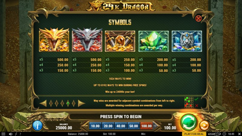24K Dragon :: Paytable - High Value Symbols