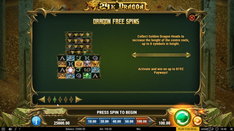 24K Dragon :: Free Spin Feature Rules