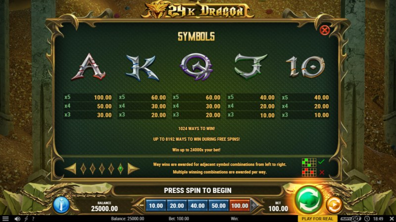 24K Dragon :: Paytable - Low Value Symbols