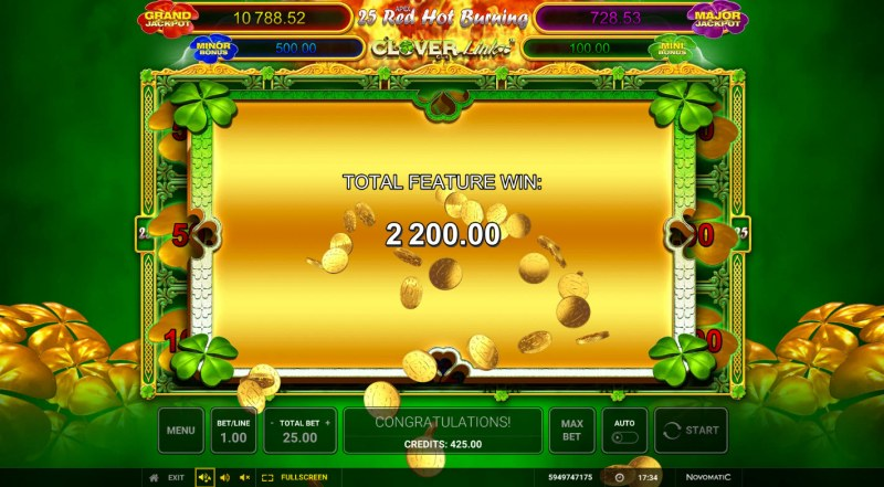 25 Red Hot Burning Clover Link :: Total Feature Payout