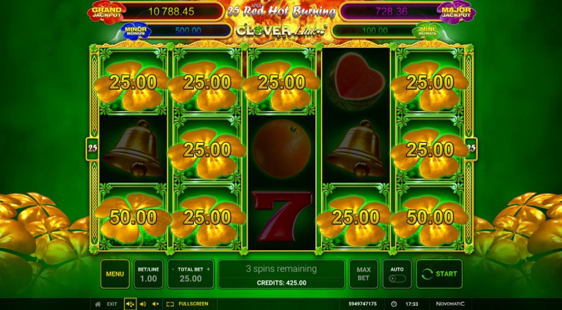 25 Red Hot Burning Clover Link :: 3 spins awarded for a chance to win big