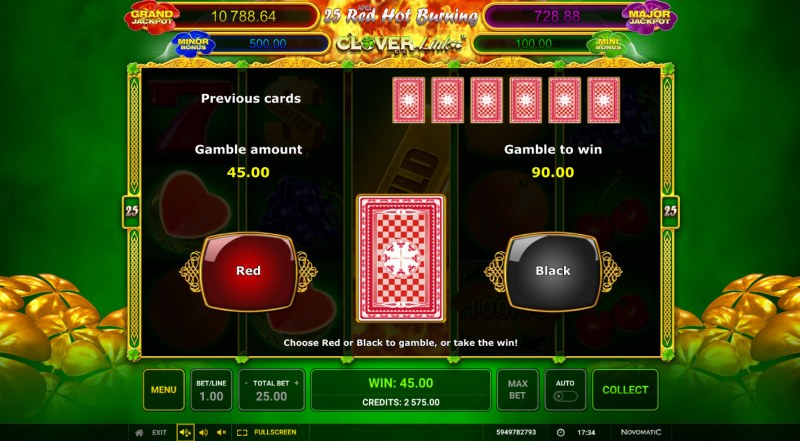 25 Red Hot Burning Clover Link :: Red or Black Gamble Feature