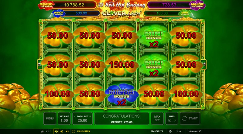 25 Red Hot Burning Clover Link :: Fill the reels with clover symbols and earn an X2 win multiplier