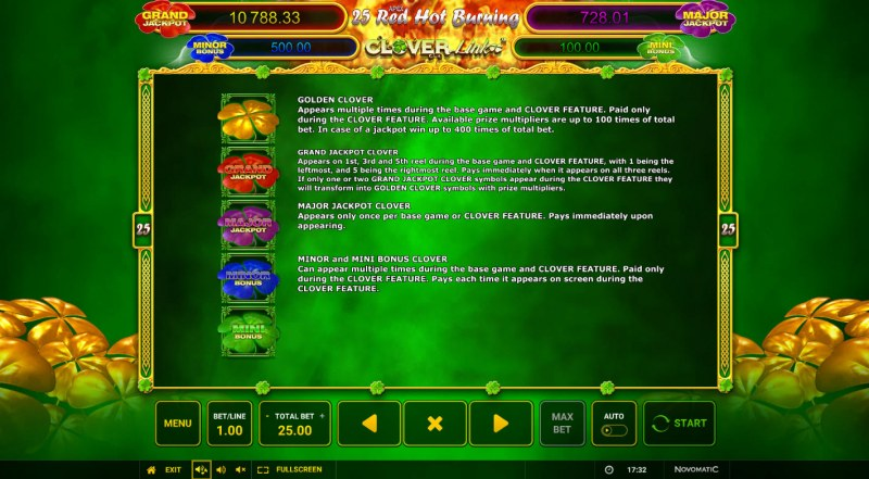 25 Red Hot Burning Clover Link :: Jackpot Rules