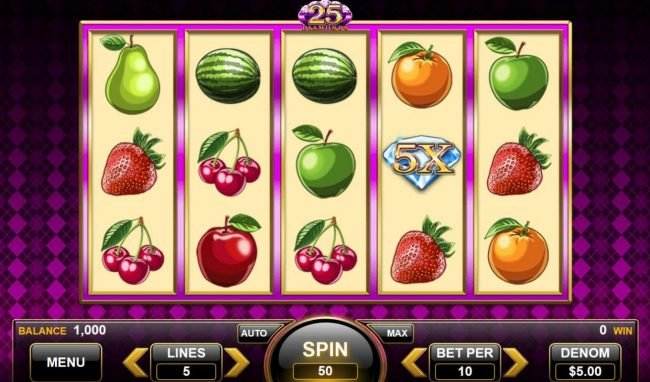 25 Diamonds :: Main game board featuring five reels and 9 paylines with a $4,500 max payout.