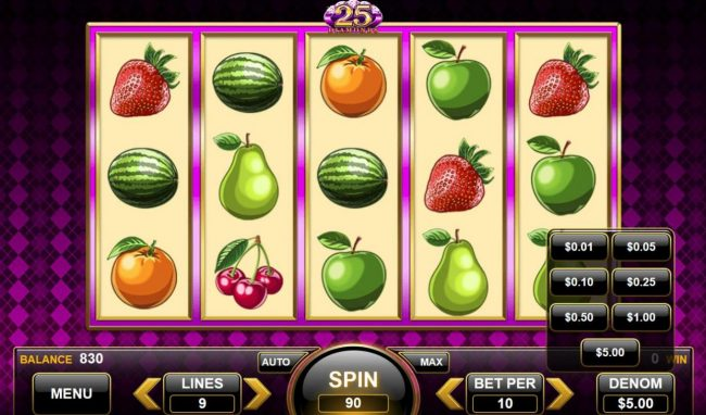 25 Diamonds :: Click on the Total Bet button to change the stake played
