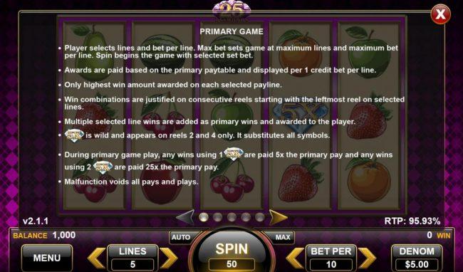 25 Diamonds :: General Game Rules