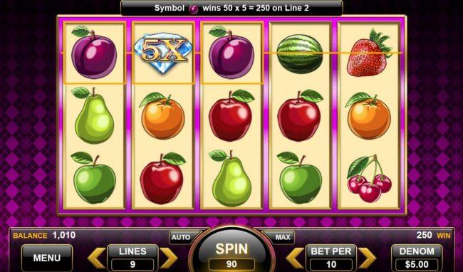 25 Diamonds :: 5x multiplier triggers a big win