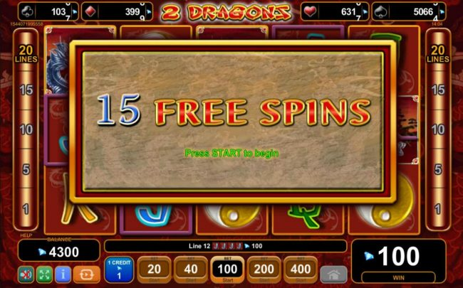 15 Free Spins awarded