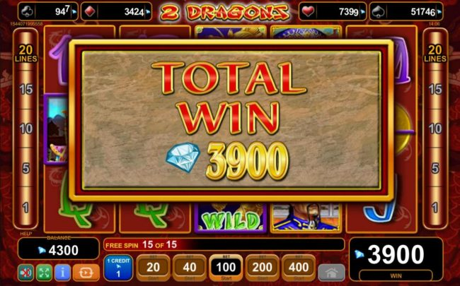 Total Free Spins Payout 3900 credits