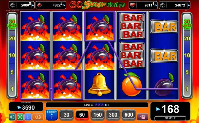 Queen Vegas featuring the Video Slots 30 Spicy Fruits with a maximum payout of $6,000