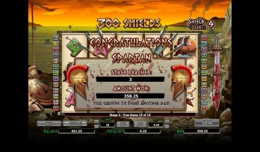 Win 7 featuring the Video Slots 300 Shields with a maximum payout of $4,000
