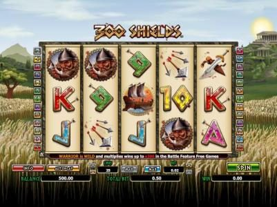 Fruity Vegas featuring the Video Slots 300 Shields with a maximum payout of $5,000