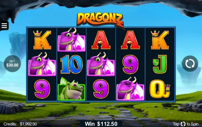 Vegas Palms featuring the Video Slots Dragonz with a maximum payout of $2,150,000