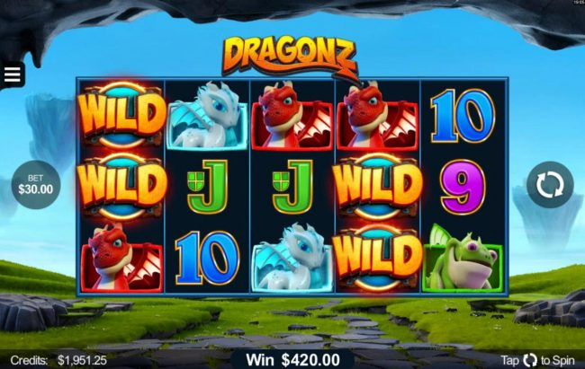 GeoBet featuring the Video Slots Dragonz with a maximum payout of $2,150,000