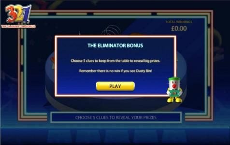 the eliminator bonus - choose 5 clues to keep from the table to reveal big prizes