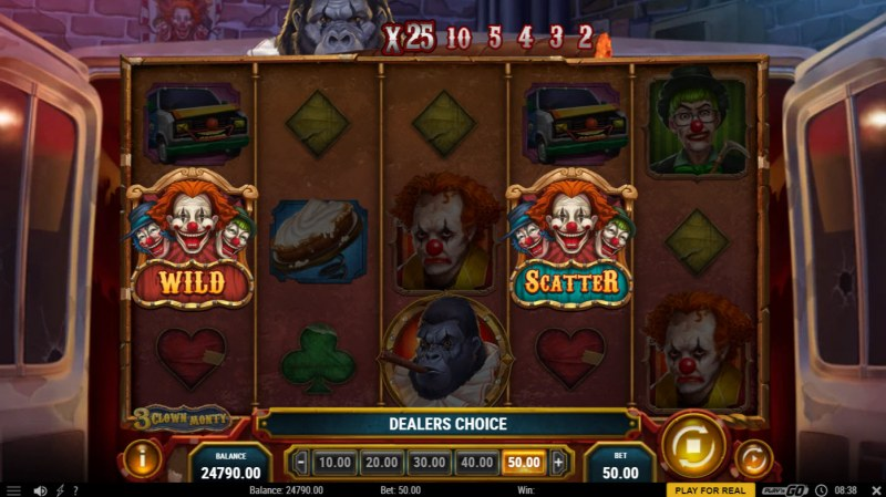 3 Clown Monty :: Landing two scatters triggers the Dealer Choice feature