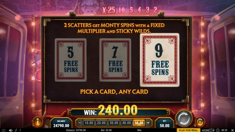 3 Clown Monty :: 9 free spins awarded