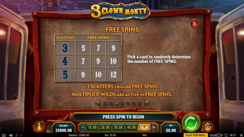 3 Clown Monty :: Free Spin Feature Rules