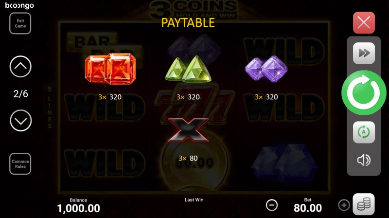 3 Coins Hold and Win :: Paytable - Low Value Symbols