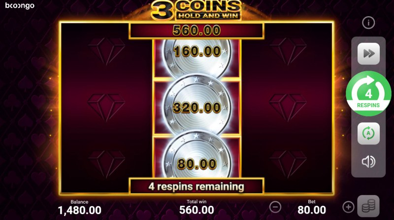 3 Coins Hold and Win :: 4 Spins awarded