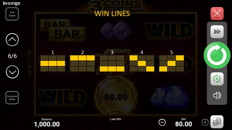 3 Coins Hold and Win :: Paylines 1-5