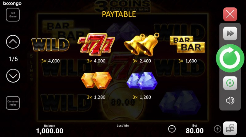 3 Coins Hold and Win :: Paytable - High Value Symbols