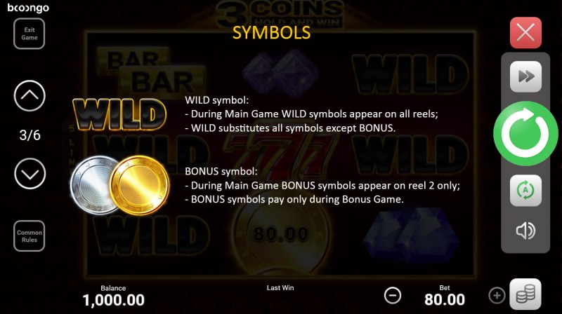 3 Coins Hold and Win :: Wild and Scatter Rules