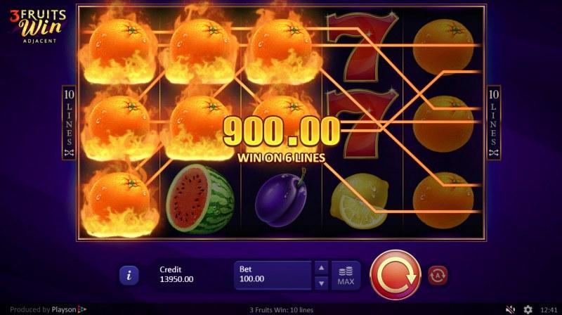 3 Fruits Win :: Multiple winning paylines