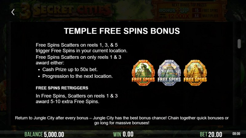 3 Secret Cities :: Free Spin Feature Rules