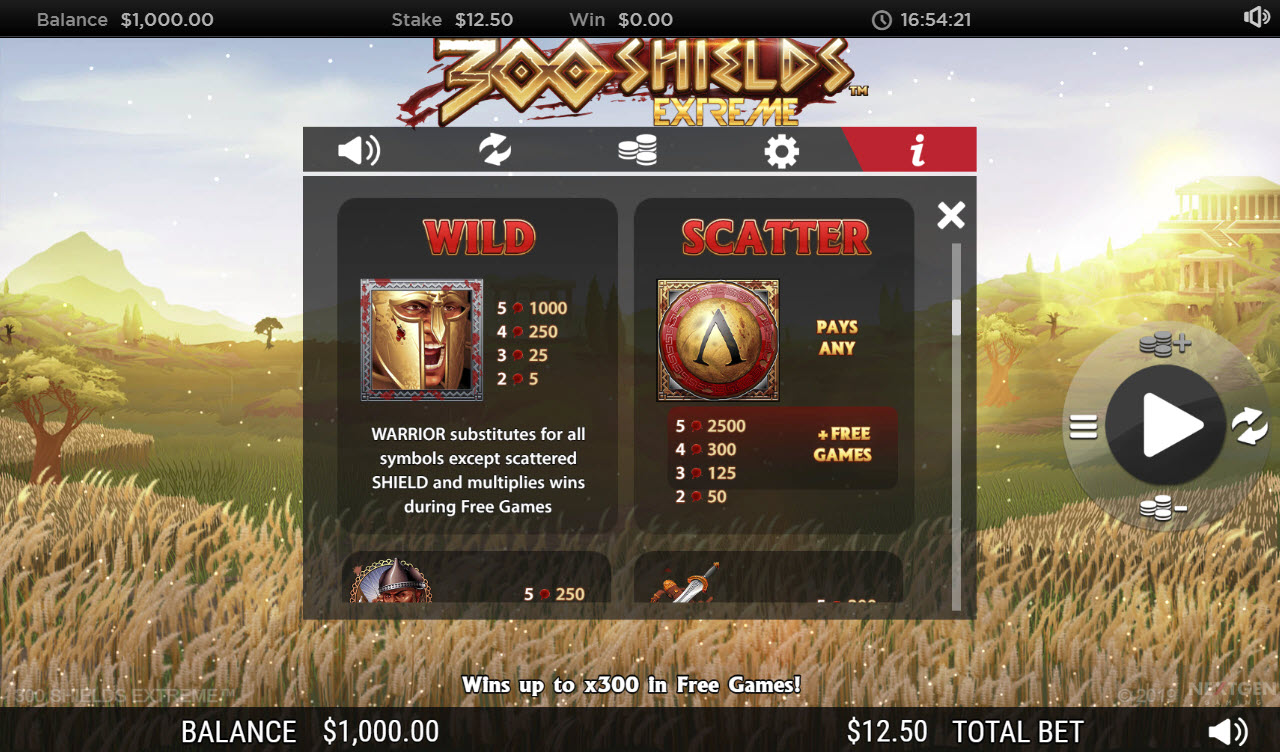 Play slots at Jackpot Paradise: Jackpot Paradise featuring the Video Slots 300 Shields Extreme with a maximum payout of $222,125