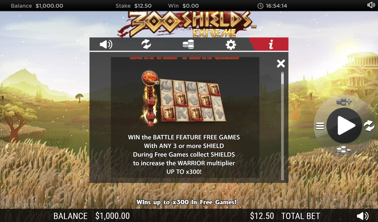 Play slots at Napoli: Napoli featuring the Video Slots 300 Shields Extreme with a maximum payout of $222,125