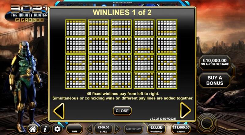 3021 The Bounty Hunter Gigablox :: Paylines 1-20