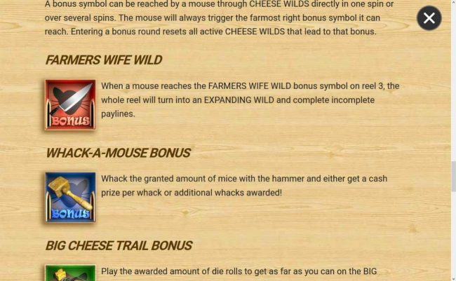 Farmers Wife Wild and Whack-A-Mouse Bonus Rules
