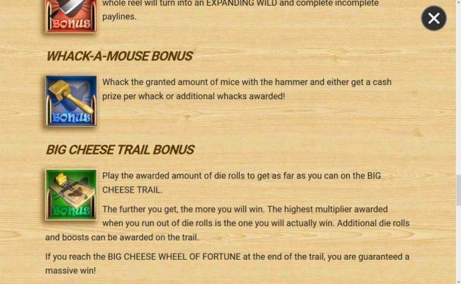 3 Blind Mice :: Big Cheese Trail Bonus Rules