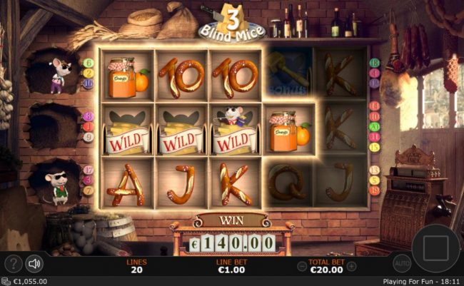3 Blind Mice :: A 140.00 jackpot triggered by multiple winning symbol combinations.