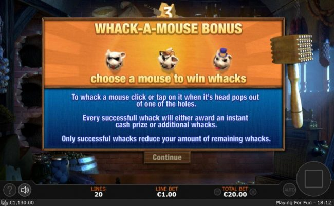 Whack-A-Mouse Feature triggered