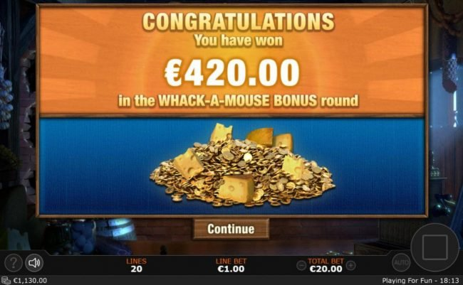 Whack-A-Mouse feature pays out a total of 420.00