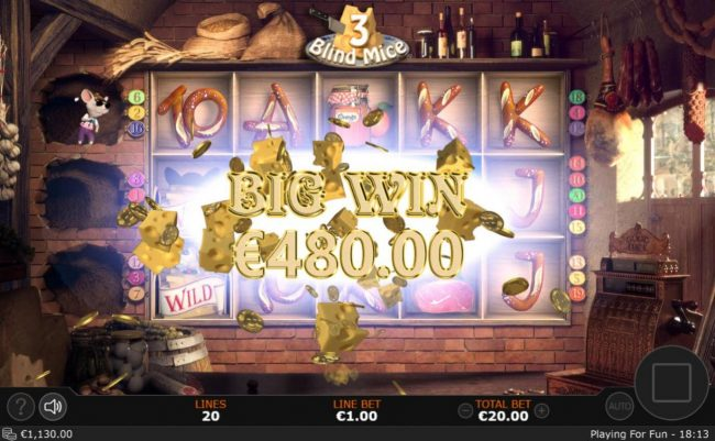 Casino Extra featuring the Video Slots 3 Blind Mice with a maximum payout of $5,000