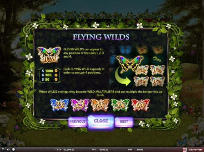 Triple Aces featuring the Video Slots 3 Butterflies with a maximum payout of $125,000