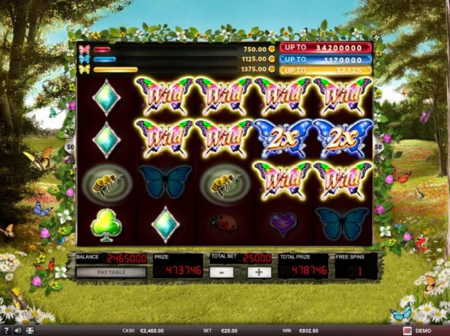 Zet Casino featuring the Video Slots 3 Butterflies with a maximum payout of $125,000
