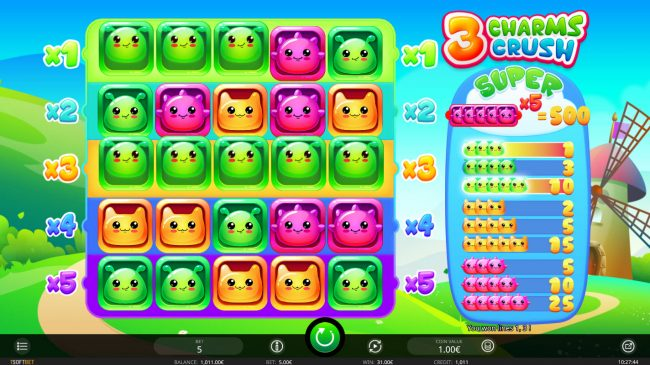 Casdep featuring the Video Slots 3 Charms Crush with a maximum payout of $500