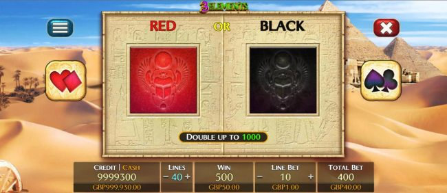 Double-Up feature game board, select red or black for a chance to double your spin winnings.